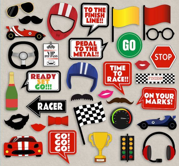 35 Race car themed party photo props racing by YouGrewPrintables