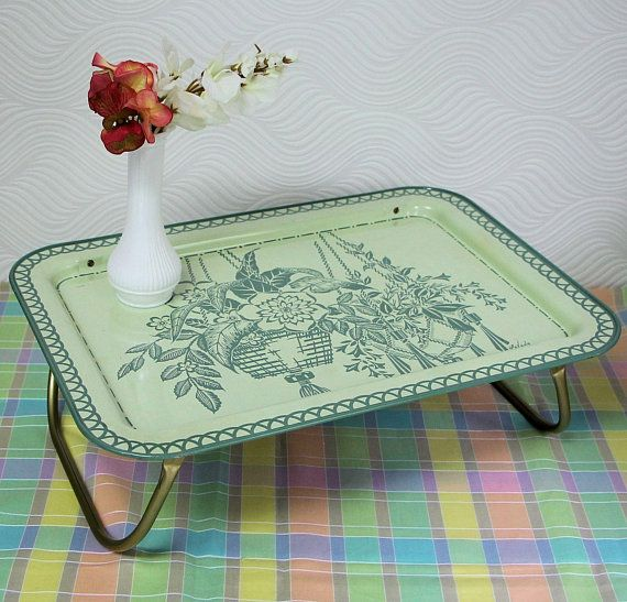 Metal Tv Lap Tray Vintage Tv Tray Breakfast Bed Tray With Folding Legs Retro Green Floral Tray With Lavada Graphics Serving Tray Vintage Tv Trays Lap Tray Vintage Tv