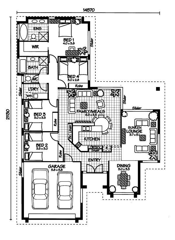 I like this! I wouldn't sink the lounge, and bed 2 would be a study. I like that the entry takes you into the living area, and the master suite isn't completely separated from the other bedrooms.