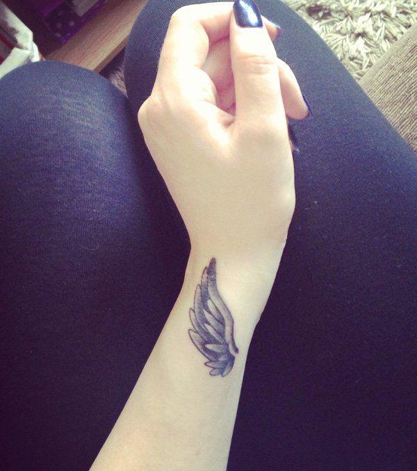 Angel Wing Tattoo on wrist  - 50 Eye-Catching Wrist Tattoo Ideas  <3 <3