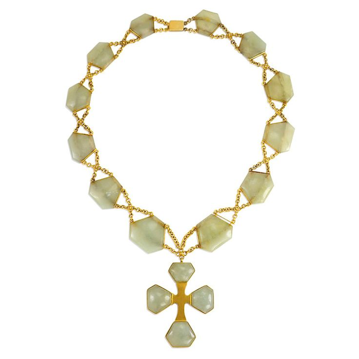Antique Serpentine Gold Necklace with Cross Pendant. A Victorian necklace comprised of gold chain and serpentine stone plaques, suspending a serpentine and gold cross, in 18k. c 1880