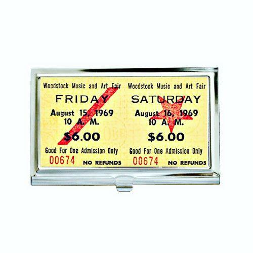 Vintage Woodstock Concert Ticket Business Card Case