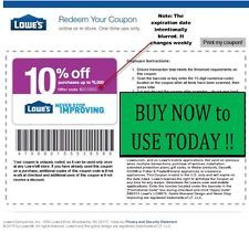 FIVE (5x) Lowes 10% OFF PRINTABLE coupons JUNE 15, 2016 - FAST EMAIL!