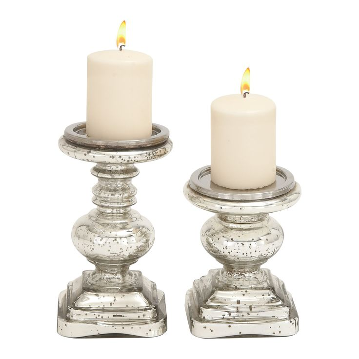 Traditional Candle Holder Set 2ct - Olivia & May, Silver