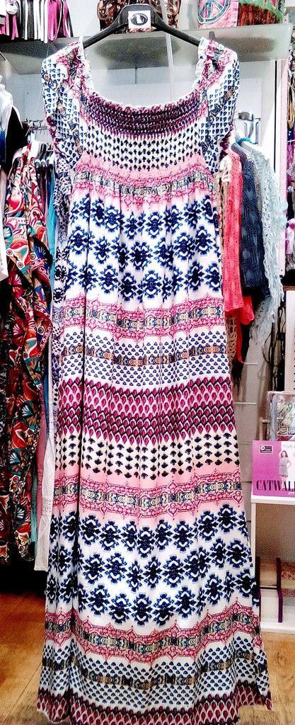 Mακρύ φόρεμα με boho μοτίβα 100% cotton