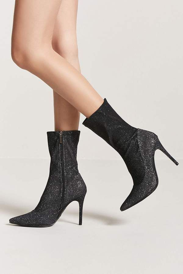 141442fcbcb5 Forever 21 Metallic Stiletto Sock Boots