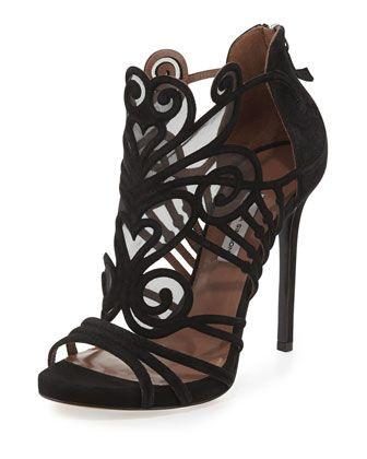 Suede & Mesh Filigree Sandal, Black by Tabitha Simmons at Bergdorf Goodman.