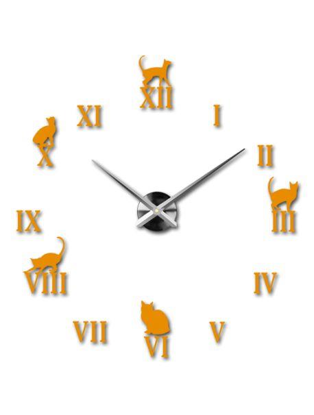 Moderní barevné nástěnné hodiny - Černá kočka Kód:  12S020-RAL1007-S-COLOR** Vyber si barvu podle sebe! Přišel čas zútulnit si své bydlení novými hodinami. Velké nástěnné 3D hodiny jsou krásnou dekorací Vašeho interiéru. Už nikdy nebudete opozdí.