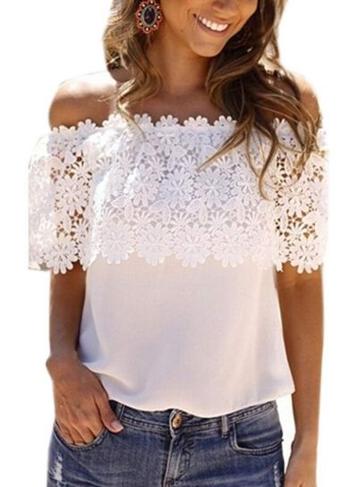 Fashion Off Shoulder Lace Tee novashe.com