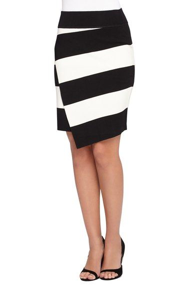 Catherine Catherine Malandrino 'Dash' Stripe Faux Wrap Skirt available at #Nordstrom
