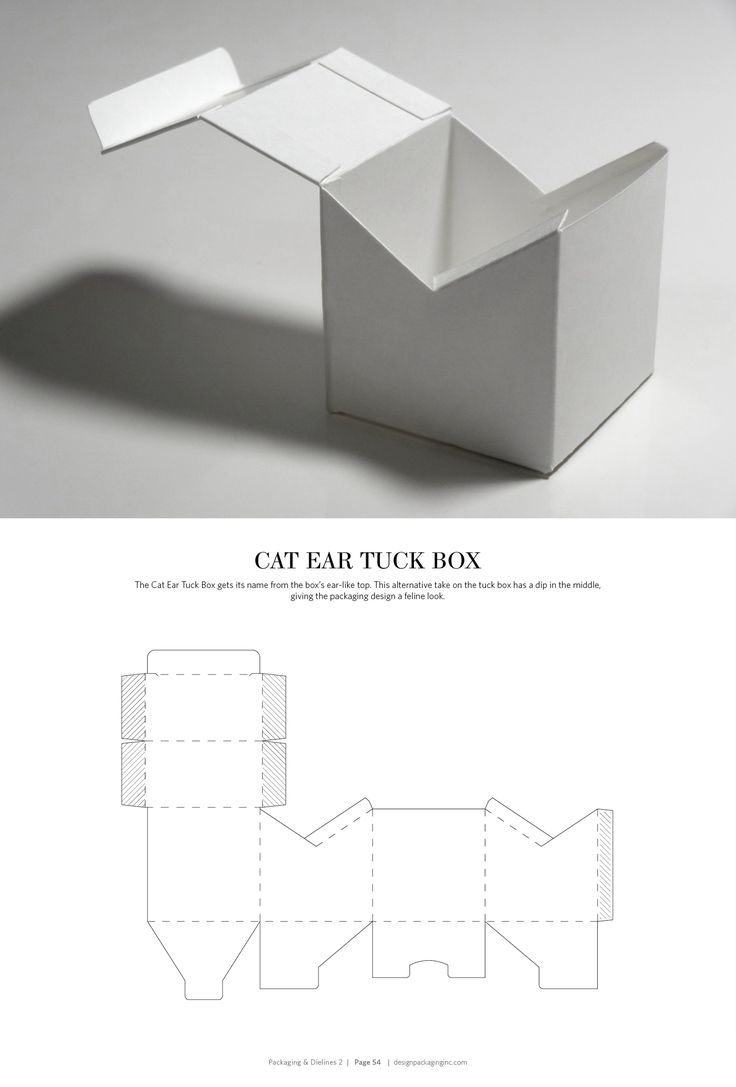 Cat Ear Tuck Box – structural packaging design dielines