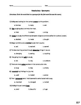 A Modified Quiz For Students With Special Education Needs Each Word Is Used In Short Sentence Use Context Clues To Select Synonym By Choosing