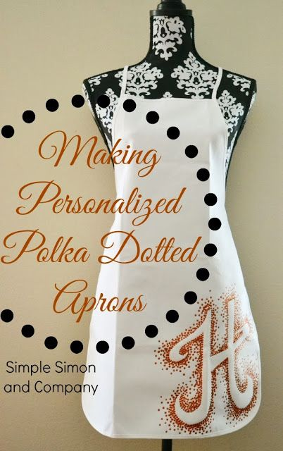 Personalized Polka Dotted Aprons: A How To .  Make this easy personalized apron with a pencil and some paint.  Its simple and no sew!  Simple Simon and Company