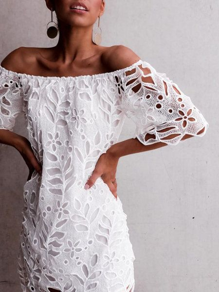 a68daf32ca7 White Lace Details Off The Shoulder Half Sleeves Dress   Dream Style ...