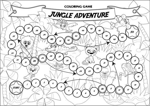 Coloring Game Jungle Adventure Board Game Printable Game Etsy Jungle Adventure Coloring Pages Childrens Board Games