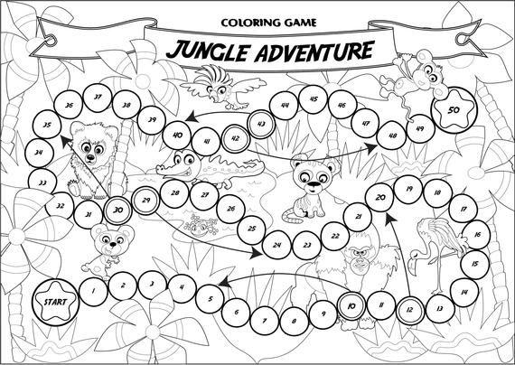 Coloring Game Jungle Adventure Board Game Printable Game Etsy Jungle Adventure Color Games Games Jungle