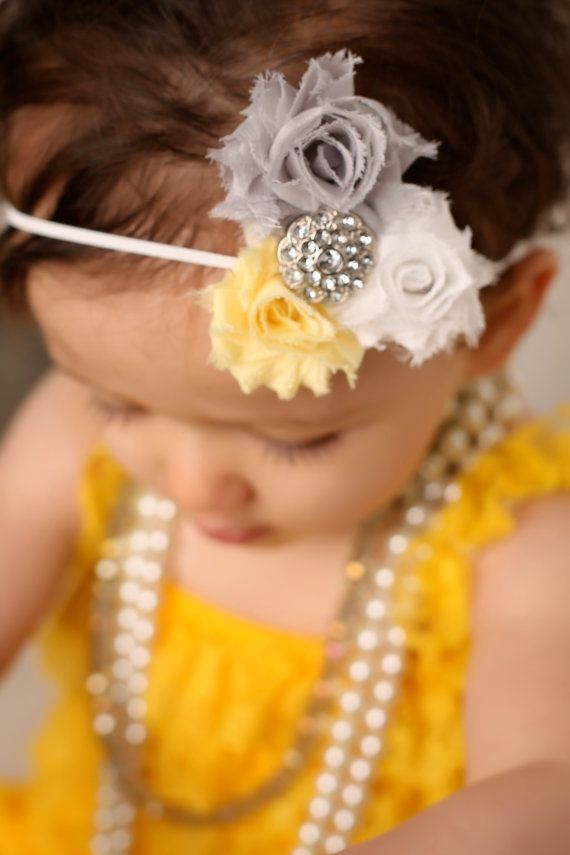 Vintage Baby Headband Yellow White Gray Shabby Chic Flower Headband Petite Flowers Rhinestone Center for Newborn,Infant,Toddler,Girl,Adult on Etsy, $9.50
