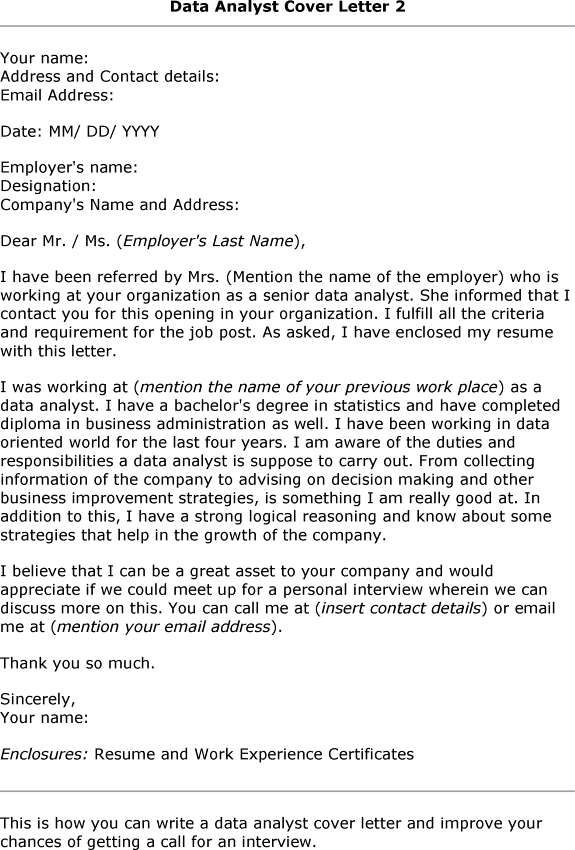 Cover Letter Template Data Analyst #analyst #cover