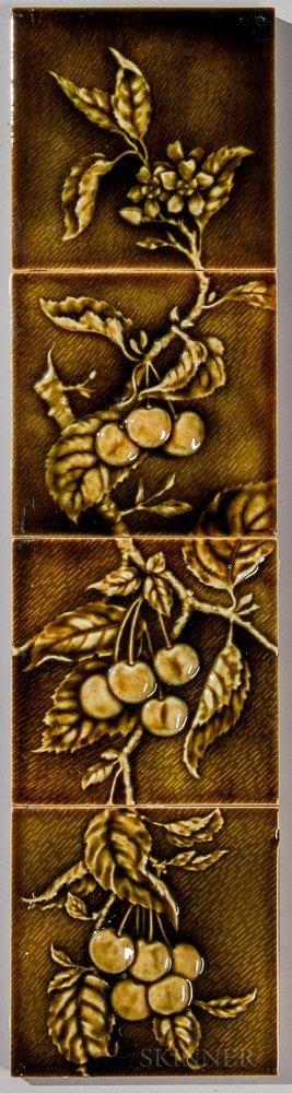 Four-part U.S. Encaustic Tile Works Art Pottery Tile Mantel Facing.
