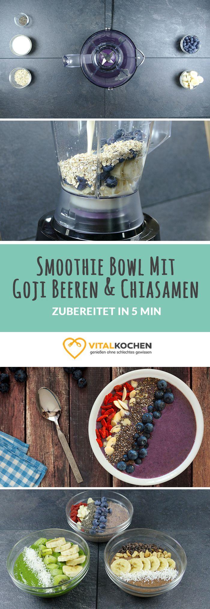Veganer Smoothie Bowl mit Goji Beeren, Chiasamen, Banane und Blaubeeren - Mit Mandelblättchen verfeinert, für einen energiegeladenen Start in den Tag - Einfach, schnell & gesund Abnehmen mit Genuss.