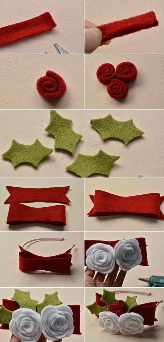 como hacer una diadema navideña con fieltro