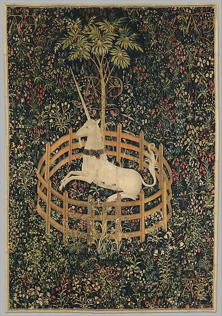 #MetKids Fun Fact: Some people in the Middle Ages believed that unicorns were real animals. They also thought that you could make poisoned water or wine safe to drink by touching it with a unicorn's horn. | The Unicorn in Captivity (from the Unicorn Tapestries), 1495–1505. Southern Netherlandish. The Metropolitan Museum of Art, New York. Gift of John D. Rockefeller Jr., 1937 (37.80.6)