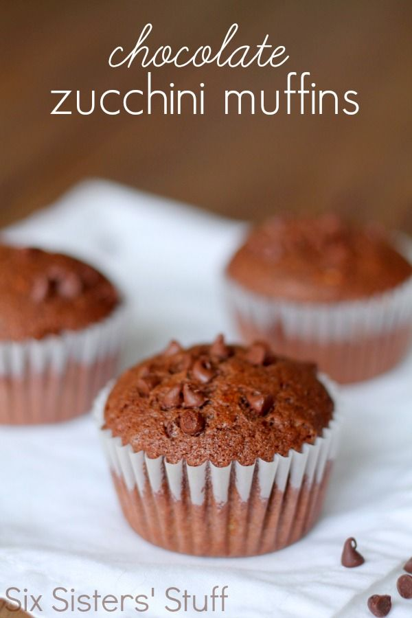 Chocolate Zucchini Muffins from SixSistersStuff.com.  So moist and delicious! #sixsistersstuff