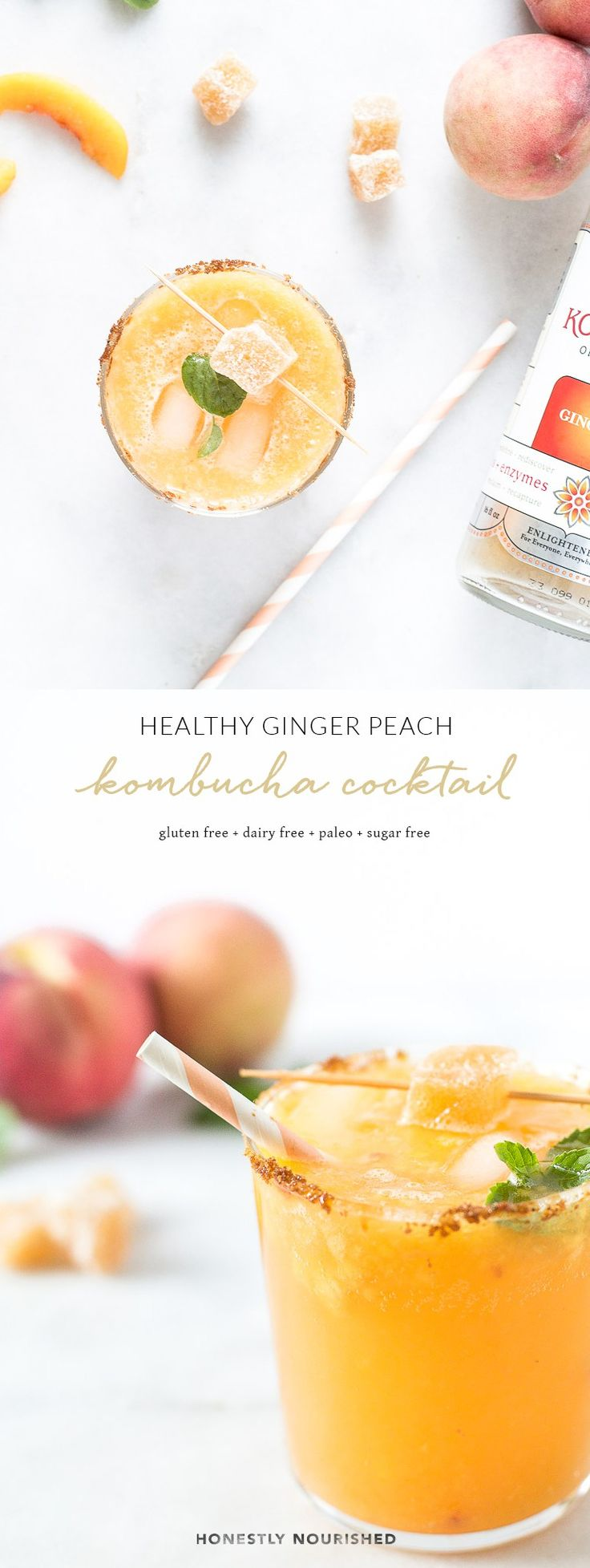 A refreshing and healthy ginger peach kombucha mocktail & cocktail recipe that's equal parts sweet and spicy, low in sugar, and full of good-for-your-gut fermented bacteria! Delicious with or without alcohol, it's the perfect drink for all your warm weather weekend AND weeknight festivities. | www.honestlynourished.com