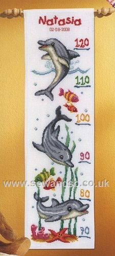 "Dolphins Height Chart Cross Stitch Kit 7¼"" x 25¼"" (18cm x 63cm). Kit contains chart and instructions, needle, 14 count white Aida fabric and presorted DMC stranded cotton threads on a loaded thread organiser.  £30 © Vervaco"