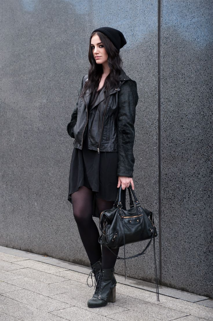Fashion blogger Stephanie of FAIIINT wearing Black.co.uk cashmere slouch beanie, ASOS leather & faux fur biker jacket, MeeMee dip hem dress, Topshop lace up boots, Balenciaga city. All black outfit, street style, grunge, goth, casual.