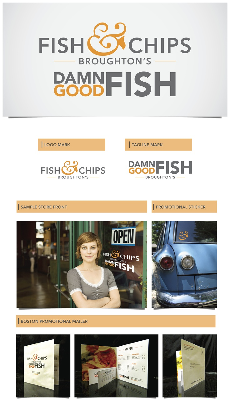 Broughton's Fish & Chips is a popular chain in the United Kingdom. To bring a new brand image to the for an opening in the United States, I have designed a new logo with a fun, clean feel. I have included promotional items to help spread brand recognition in the Boston, MA area where the new restaurant would open.