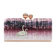 Buy Ted Baker Swanee Leather Sparkling Swan Print Matinee Purse, Straw Online at johnlewis.com