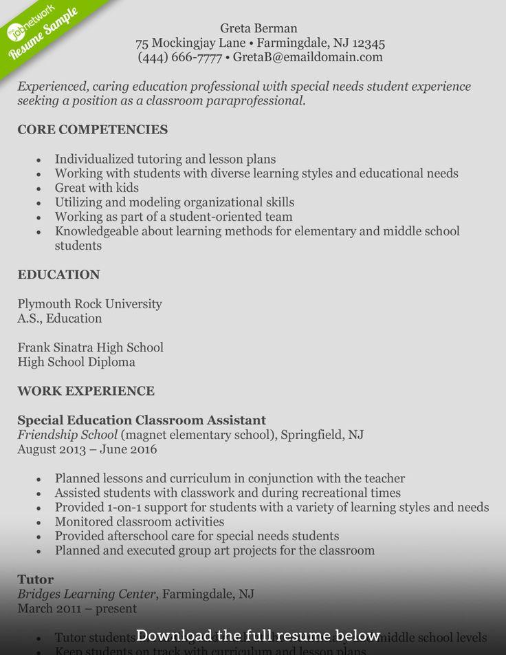 49 Special Education Paraprofessional Resume Mu0e