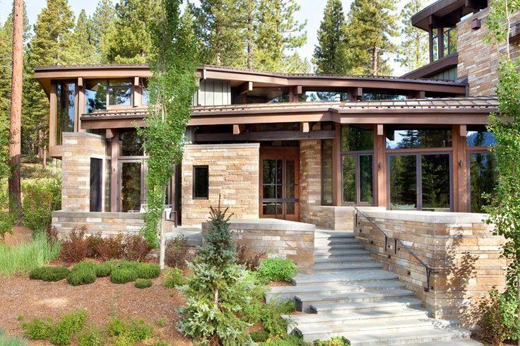 atypique maison en bois et pierre en lisi re de for t aux usa escalier ext rieur maisons en. Black Bedroom Furniture Sets. Home Design Ideas