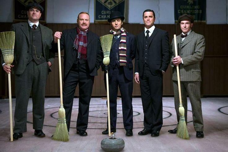 The Curling team - Jackson (Kristian Bruun), Brackenreid (Thomas Craig), Crabtree (Jonny Harris), Murdoch (Yannick Bisson), and Higgins (Lachlan Murdoch