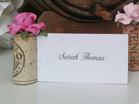 wine cork place card holders with custom flower color wedding vineyard wedding escort card holder bridal shower