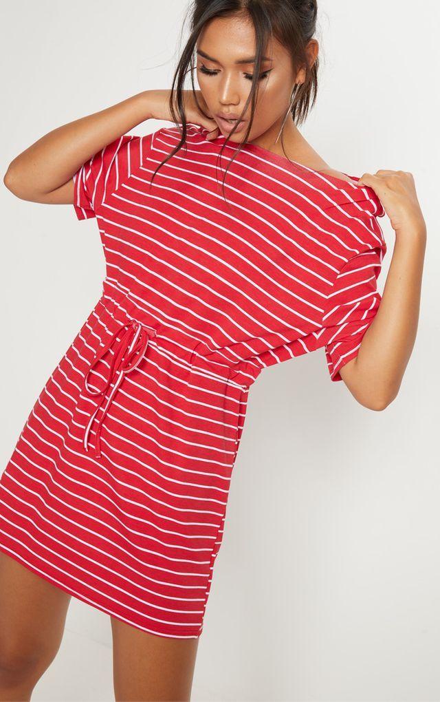 9ebcb8ca3adaaf Red Stripe Print Tie Waist T Shirt Dress | Fashion - Outfits ...