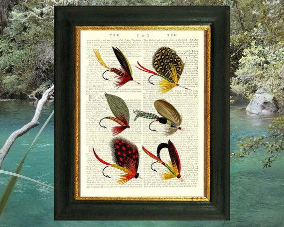 Bass Fishing Flies. Art print on antique book by VintageTextArt, $10.00