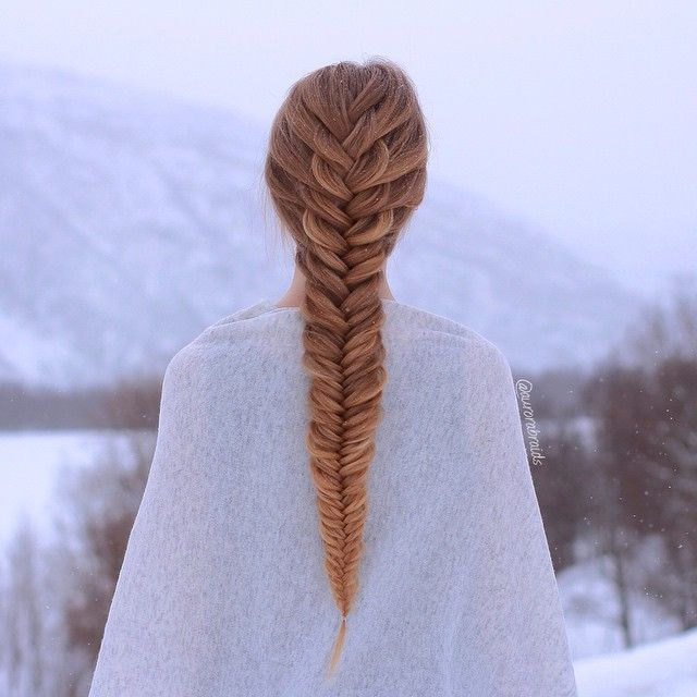 """French fishtail on Elise. Love the tiny snowflakes in this picture❄️ Some of you guys have been asking us why we still have snow, and the answer to that is that we live in Northern Norway, so practically on the North Pole lol. The snow has now started to melt a bit though, and will hopefully be gone soon. We can't wait to take some spring themed pictures!"" Photo taken by @aurorabraids on Instagram, pinned via the InstaPin iOS App! http://www.instapinapp.com (04/13/2015)"