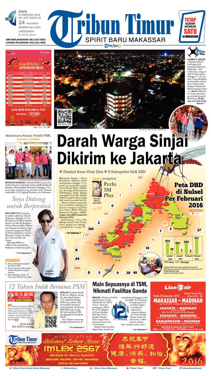 Tribun Timur edisi Senin, 8 Februari 2016