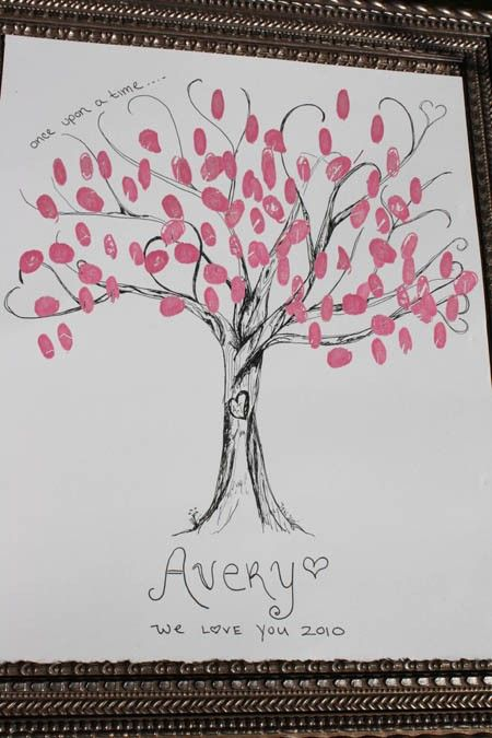 Cute Idea for a Baby Shower - Fingerprint Tree Guestbook