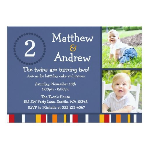 Best Twins Birthday Party Invitations Images On Pinterest - Birthday invitation cards twins