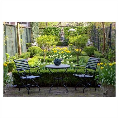Small Formal French Garden Plans Urban In Spring With Metal Furniture On  Patio