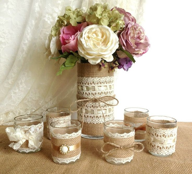 burlap and lace covered votive tea candles and vase country chic wedding decorations, bridal shower decor, home decor by PinKyJubb on Etsy