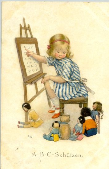 Illustration- Susan B. Pearse (British, 1878-1910) Teaching ABC,German - Postcard 1910?
