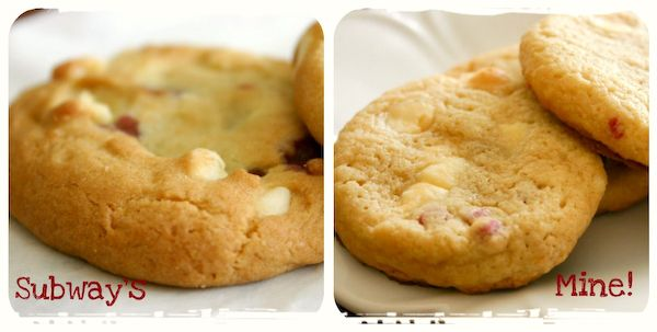 Subway Raspberry Cheesecake Cookie Recipe!!  2 (7-ounce) boxes Jiffy raspberry muffin mix  4 ounces cream cheese, softened  1/2 cup (1 stick) butter, softened  2 tablespoons butter-flavored shortening  1/2 cup brown sugar, firmly packed  2 eggs  1 1/2 cups white chocolate chips