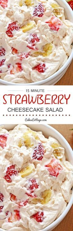 "Strawberry Cheesecake Salad - or what I like to call a ""potluck salad."" Rich and creamy cheesecake filling is folded into your favorite berries to create the most amazing fruit salad ever!"
