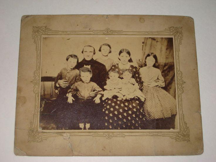 ANTIQUE FAMILY PORTRAIT PHOTO-1860s-CHIN BEARD MAN-HOOP SKIRT GIRL-TWIN BABIES