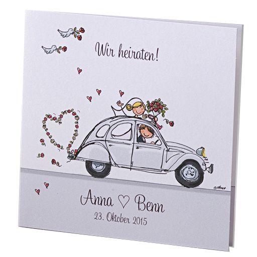 """Fröhliche Hochzeitseinladungen """"Flitterwochen"""" auf schimmernden Premiumpapier online bestellen"""