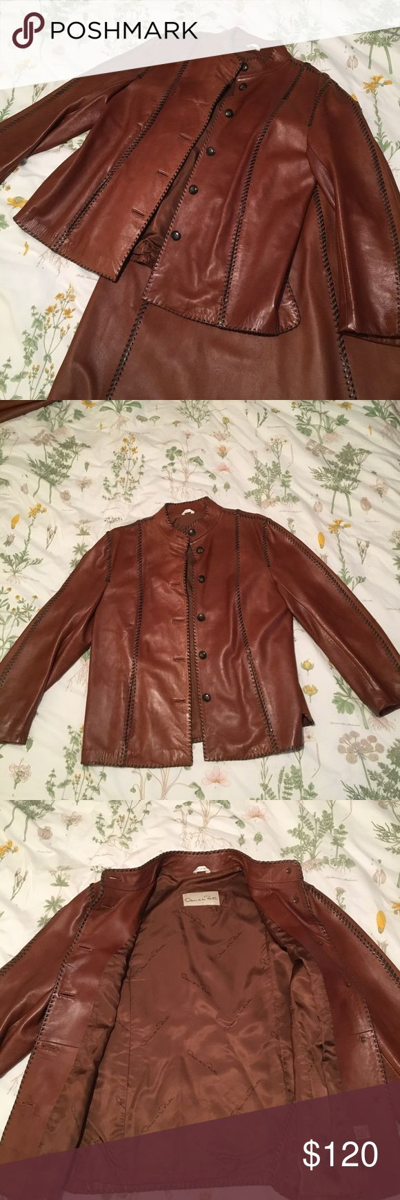 Oscar de la Renta Leather 2 piece skirt/blazer set Beautiful vintage Oscar de la Renta leather 2 piece suit, (skirt and blazer). Buttery soft leather, made in Spain. Perfect condition. Oscar de la Renta Skirts A-Line or Full